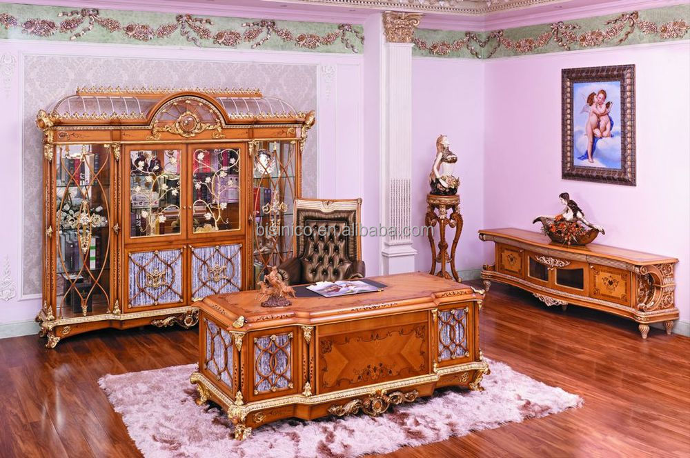 Luxury French Baroque Style Home Office Furniture Classic Study Room