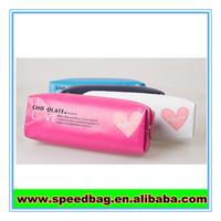 Cute samll heart print PU pencil bag long style pen bag
