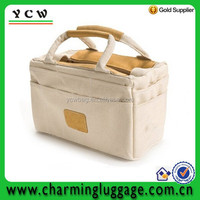 Leather trim natural blank unleached cotton gusset tote bag