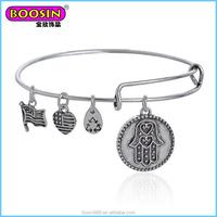 Popular in silver turkey DIY Bracelet palm charm expandable wire bangle