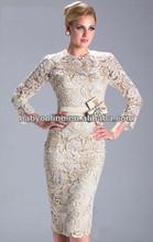 2013 Prom Vestidos Manga Larga Nuevo Applique del cordón de la envoltura madre de Bridemaid Vestidos hasta la rodilla