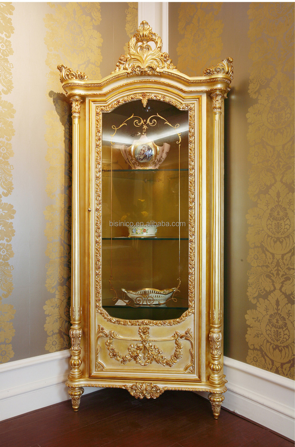 Luxury French Louis Xv 24k Gold Leaf Display Cabinet
