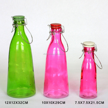 Sprayed Colorful Glass Juice Bottle with ceramic lid and handle
