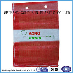 top wicket leno mesh bag with label
