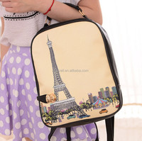 Stylish preppy style printing PU leather lady backpack school backpack for girls