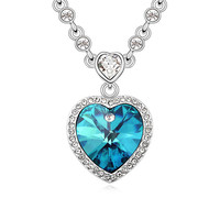 Hot Women Happiness heart of ocean Crystal Pendant Chain Necklace Lucky Valentine Gifts necklace jewelry fashion