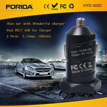 Fábrica forida 2014 3.1a dual usb para el coche cargador de batería para el teléfono móvil y el iphone