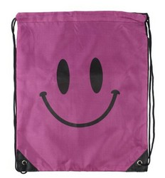 smile shape frozen drawstring bag wholesale cotton fabric shoulder bag China drawstring bags