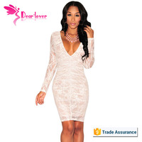 White Lace Nude Illusion Ruched Long Sleeves Dress