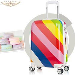 Hot Selling Colourful Rainbow Pattern Fashion Girl Trolley Luggage