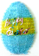 popular*3D blue-yellow egg shaped pompoms with letter piece/ craft gift for Easter Day/suspending decoration