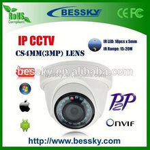 Shenzhen Bessky Plastic dome P2P 1.0/1.3MP IP Cameras ir viewerframe mode network ip camera w/ blinking red led light