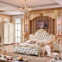 Stock Luxury Classical European French Baroque Rococo Style Wood MDF Carved Province Wedding White Leather Bedroom Furniture Set