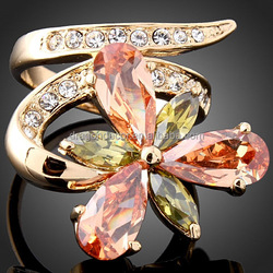 High Quality Clear Crystal 18 K Gold Plated Promotion Fashion Zircon Flower Rings