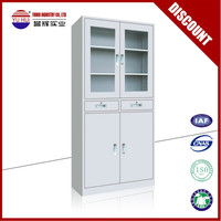 Commercial furniture metal glass door filing cabinet with drawers