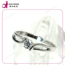 Fashion design AAA gemstone rings white sterling single stone ring designs