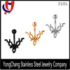 Silver/Gold/Black Claw Shape Stainless Steel Casting Belly navel RIng