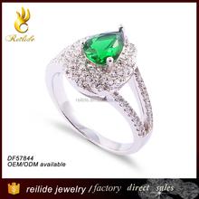 [Reilide]Custom 2015 silver jewelry latest ring set 925 sterling silver emerald diamond stone men ring