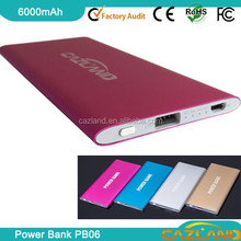 2015 new fast charging latest design 6000mah power bank power safe battery