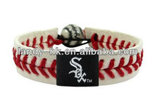 Team baseball handmade leather bracelet