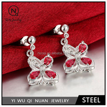 New fashion color zircon inlaid silver plated butterfly earrings