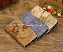 Map Design Credit Card Smart stand Leather Case Cover For Iphone 5c 3colors