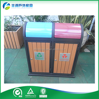 Free standing gardening ashtray garbage bin,wood outdoor trash bin,dustbin in park
