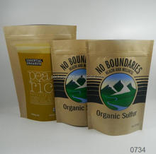 environmentally clear window kraft paper ziplock stock stand up pouches