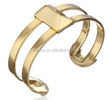Gold Stainless Steel Bangle, Gold-tone Pyramid Cuff Bracelet
