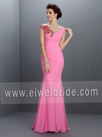 S978 Scoop Applqiued Cap Sleeve Sheath Pink Chiffon Long Evening Dress
