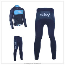Men's Sublimation Print Biking Long Sleeve Jersey Sets Coolmax pad Wicking fabric