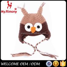 wholesale children hat animal owl pattern crochet knitting beanie hat