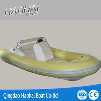420cm pvc inflatable fishing plastic boat with double fiberglass hull