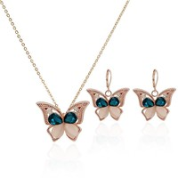 China Wholesale Manufacturers Selling Rose Gold Opal Crystal Fashion Butterfly Jewelry Earrings Necklace Set Jewelry