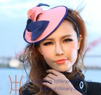 Pink Wool Wedding Hats For Ladies With Decoration In Party TH-0011