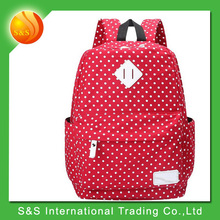 Canvas polka dots casual style cool spotted laptop backpack school Bag
