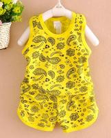 Best seller China baby clothing Wholesale s kids printed sleeveless tops+ shorts suit baby Clothing Sets