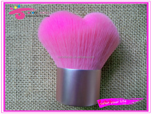 wholesale heart type pink nylon personalized cosmetic kabuki brush free samples