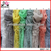 Made in china high quality cotton polyester lace edge fashionable lady scarf