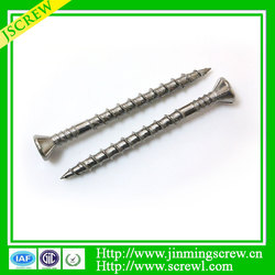 China screws manufacturer shank rib, type 17 point stainless steel deck screw
