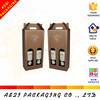 die cut carrying handle hot stamping corrugated cardboard wine box with double bottle