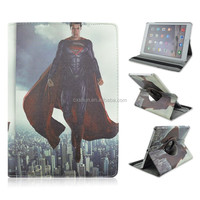 Handsome Superman PU Leather Smart Tablet Case For iPad air 2, Rotary Flip Turn Stand Cover Case For iPad 6