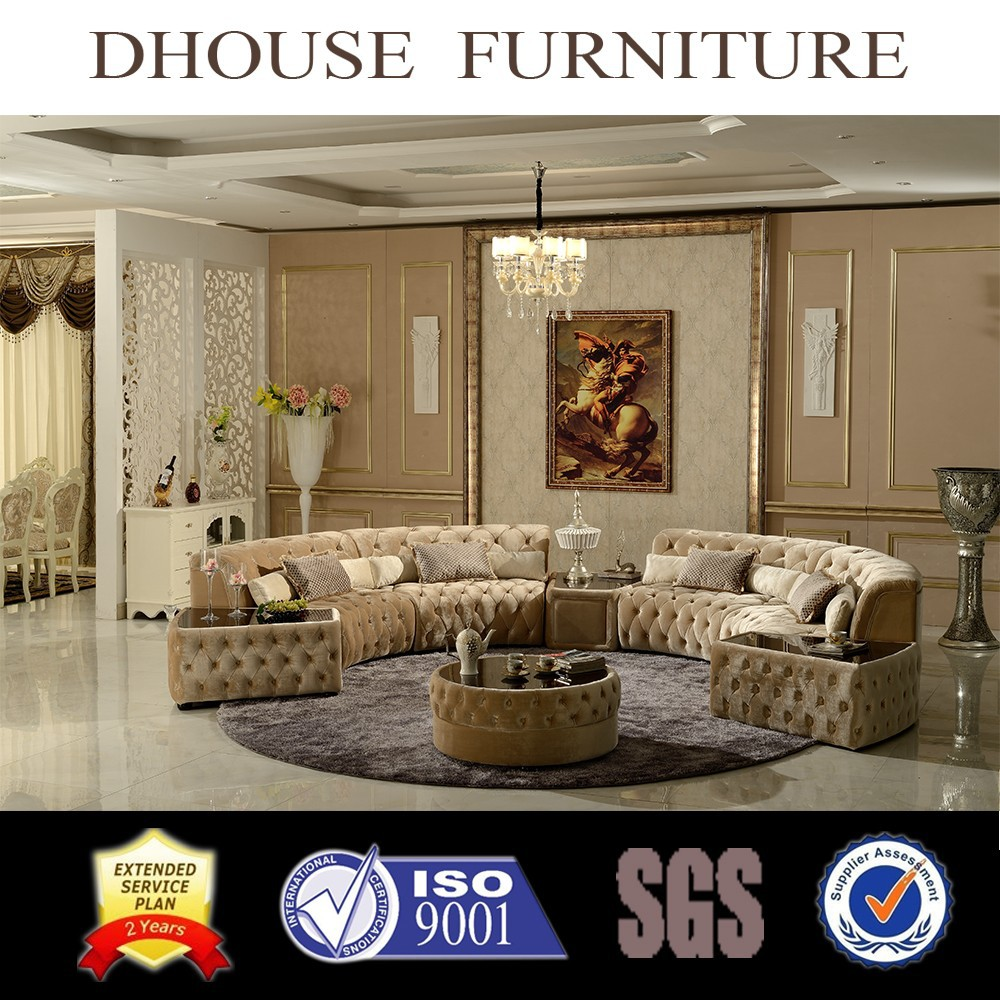 Home design funiture classic semi round fabric for Semi classic sofa