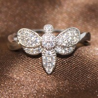 BJ099 Hot Selling New Style Free DHL Shipping to UK Fashion Brass Cubic Zircon Rhodium Plating Dragonfly Ring