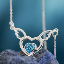 T400 fashion jewelry heart-shaped pendant necklace 925 sterling silver crystal from Swarovski elements