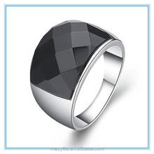 MECY LIFE factory high- grde new design hot selling men silver ring black stone