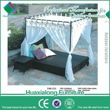Outdoor furniture rattan wicker garden daybed sun lounger daybed with canopy beach towel lounge chair cover FWB-233-3
