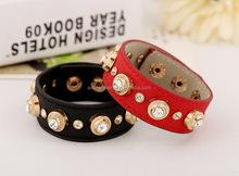 customized Design golden rivet with rhinetone leather bracelet SDC0150