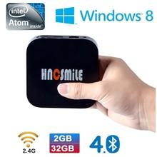 2015 mini PC Bluetooth wifi 32G storage 2G Memory Intel box office entertainment TV AtomTM quad-core Wintel W8 tv box Mini pc