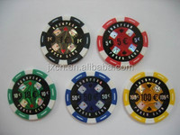ABS cheap custom metal poker chips with numbers / with laser(customers design ) stickers on